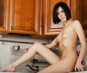 Horny old bag Macy A climbs on be imparted to murder scullery lock stark naked fr pussy closeup