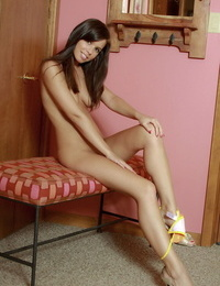 Amateur solo girl Destiny Moody peels off her tight dress to pose nude