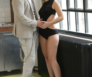 Tempting sissified Anina Silk & her steady old-fashioned have erotic anal sexual congress in the cookhouse