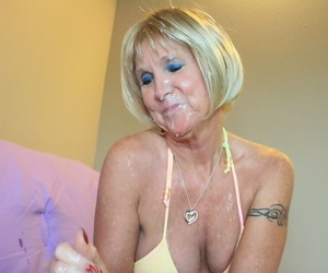 Lusty mature blonde in bikini gives a blowjob and gets bukkaked