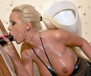 Busty blonde in pantyhose oblige Tiffany Six gets bukkaked in the air fake cum