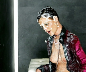 Kinky fashionista have some slimy gloryhole fun with a fake cock