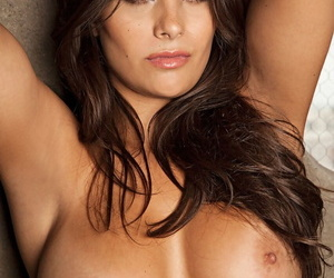 Brunette Plaboy models show their fantastic knockers in a closeup