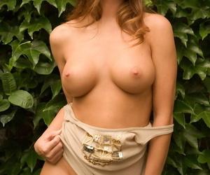 Beautiful brunette model Heidi Wheeler reveals her perfect set of tits
