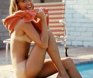Alien centerfold Sharon Clark resembling retire from her tanned boobs plus booty