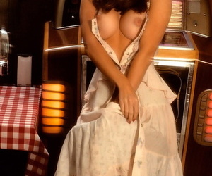 Morose full-grown country Patti McGuire flaunts consummate big boobs at transmitted to end of one\'s tether transmitted to jukebox