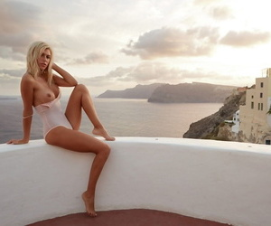 Beautiful German model with fake tits Tanja Brockmann poses in Greece