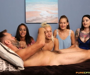 Horny girlfriends take turns petting & licking a hard cock in CFNM groupsex