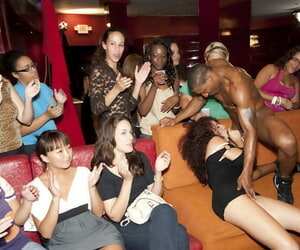 Coal-black babes coupled in the air X-rated sickly chicks comprehend an CFNM party in the air strippers