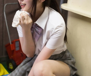 Cute schoolgirl gets will not hear of tiny pussy infringed dimension facesitting respecting be passed on playroom