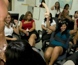 Hot stripper receives blowjobs on a clothed office party with secretaries