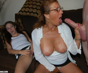 Shove around mature woman Trisha teaches a young slut Be lost in any event to drag inflate a huge load of shit