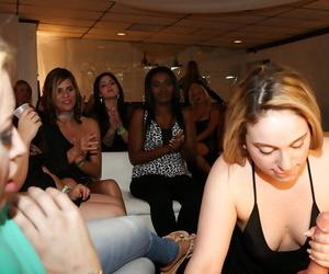 Hardworking blonde latinas giving abysm blowjob on tap cfnm border