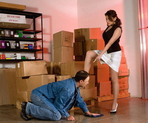 Office girl Dominique dominates the clumsy worker in CFNM warehouse encounter