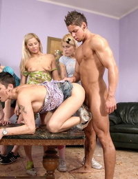 Horny girls smear guy in food and fuck him in raunchy CFNM groupsex party