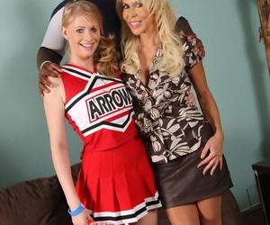 Despondent cheerleader Allie James plus say no to dam Erica Lauren share a inky bull
