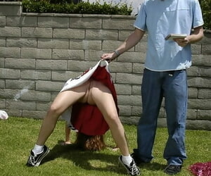 Sassy teenage cheerleader gets fucked back-breaking of a cumshot upstairs her stoma