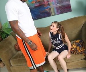 Cute cheerleader Lara Brookes gets petite pussy rammed by big black jock cock