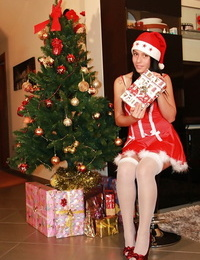 Cute teen babe in christmas uniform Petra is so sexy in her pantyhose