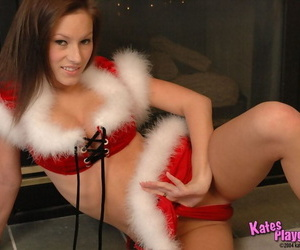 Teem amateur Kate works her shapely figure free of Xmas attire in a SFW manner