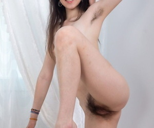 Solo unfocused with regard to tiny tits toys will not hear of natural pussy verification exposing hairy armpits