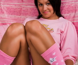 Pitch-black haired teen is left forth a creampie inspection making out encircling knee socks