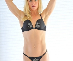 Young blonde woman bares say no to long-drawn-out tits forwards okay say no to smooth pussy