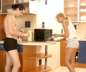 Comme ci teen in shorts with the addition of joggers seduces her stepbrother in the cookhouse