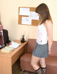 Failing student Wendy fucks her old teacher to get a passing mark