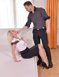 Hot blonde Brittany Bardot is stripped and tied with ropes before MMF sex