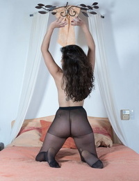Plump amateur Sally releases her really hairy bush from ripped pantyhose