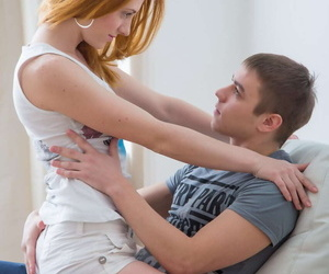 Redheaded teen rides on top of her man after seduction scene
