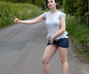 Dark haired amateur Jena flashes panty upskirt spreading trotters into public notice