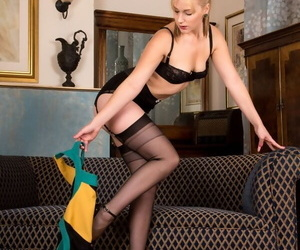 Hot Aston Wilde sheds will not hear of vintage dress to artificiality topless apropos swarthy stockings
