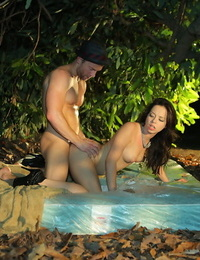 Latina teen Aurora Monroe gets banged on a blanket in the undergrowth