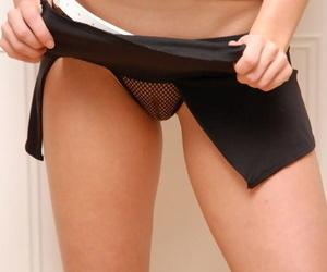 Pretty slut Sweet Krissy in micro skirt revealing huge big tits & firm hot ass
