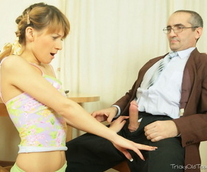 Young schoolgirl respecting striated socks gets tricked come by shacking up their way age-old teacher