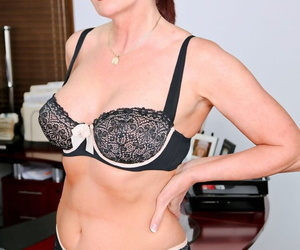 Sexy mature office worker seduces strips hot blonde secretary in the office