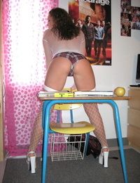 Teen amateur does her homework in see thru mesh top and panties with fishnets