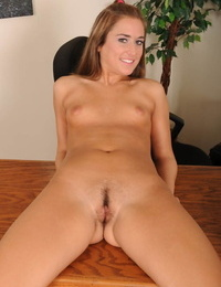 Pretty cheerleader Katie Sands spreads her pussy at her coachs office