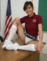 Hispanic schoolgirl Heather Vahn takes off her undies and flashes her vagina