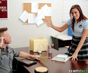 Tall brunette schoolgirl Rilynn Rae gets banged by a teacher at school