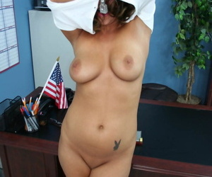 Sexy schoolgirl Carmen McCarthy strips from her uniform and shows her hot body