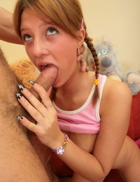 Young redhead Irina swallows a mouthful of cum during sex with her boyfriend