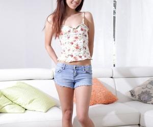 Slim college girl Mila Jade slips off cutoff shorts before fingering herself