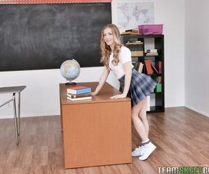Slutty student Karla Kush hikes schoolgirl skirt for anal bang on the desk