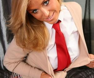 Blonde college girl strips to white OTK socks and cotton underwear