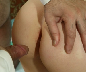 Redheaded college girl is tricked into hardcore sex with her old professor