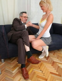 Blonde college girl Shelly takes an external cumshot after sex with professor