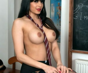 Unlighted schoolteacher bare will not hear of big bosom in the classroom